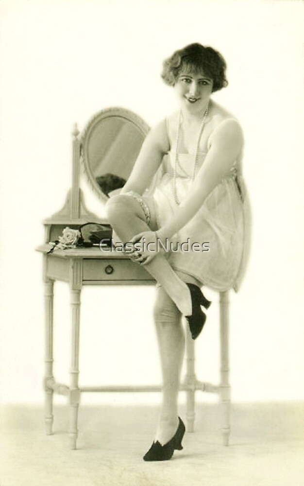 A portrait of a 20s flapper girl sitting next to her dressing table by ClassicNudes