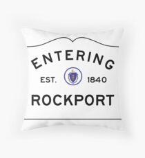 Entering Rockport - Commonwealth of Massachusetts Road Sign  Throw Pillow