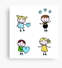 Vector Illustration of doodle retro kids isolated on white Canvas Print