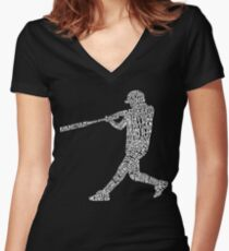 Baseball Softball Player Calligram Women's Fitted V-Neck T-Shirt