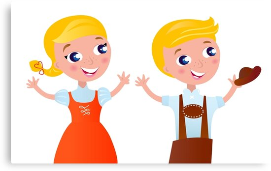 Bavarian couple isolated on white : folk style for Octoberfest - design original by Bee and Glow Illustrations Shop