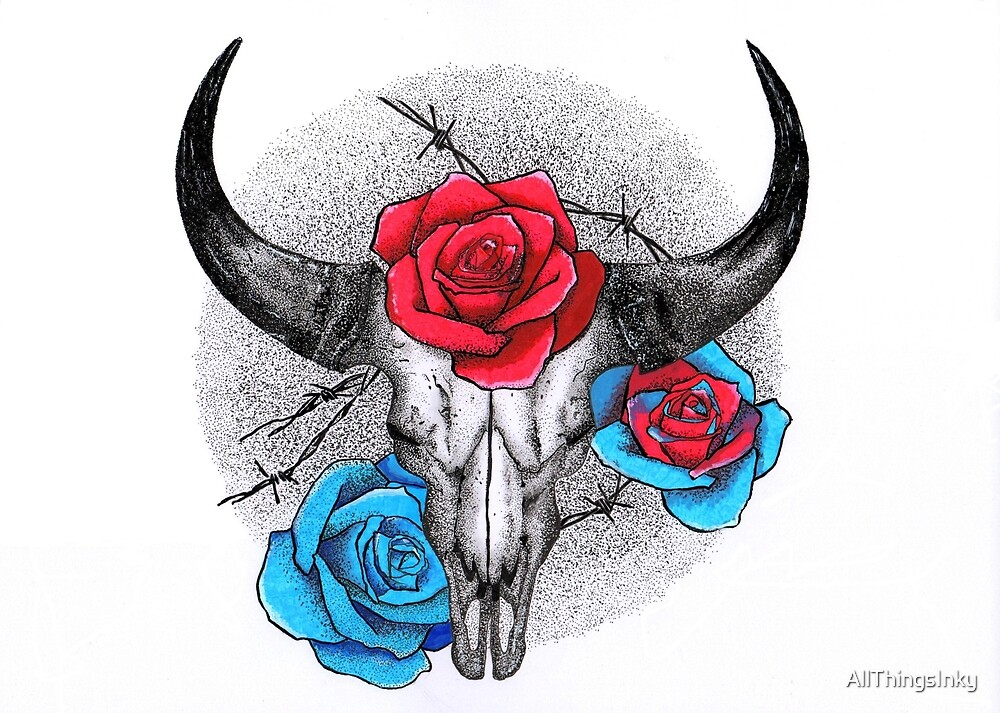 Skull and rose's by AllThingsInky