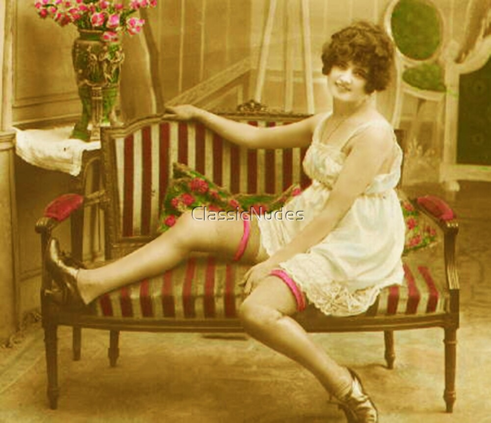 A Victorian Lady reclining on her Chaise Longue vintage photograph by ClassicNudes