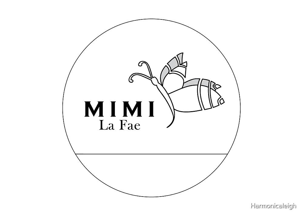 Mimi La Fae Logo,Round, White w border by Harmonicaleigh