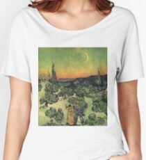 Vincent Van Gogh - Landscape With Couple Walking And Crescent Moon, 1890 Women's Relaxed Fit T-Shirt