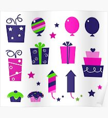 Cute icons collection in vibrant tones : birthday original gift collection Poster