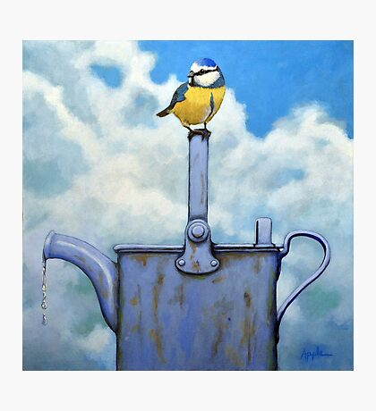 Cute Blue-Tit realistic painting bird portrait on watering can Photographic Print