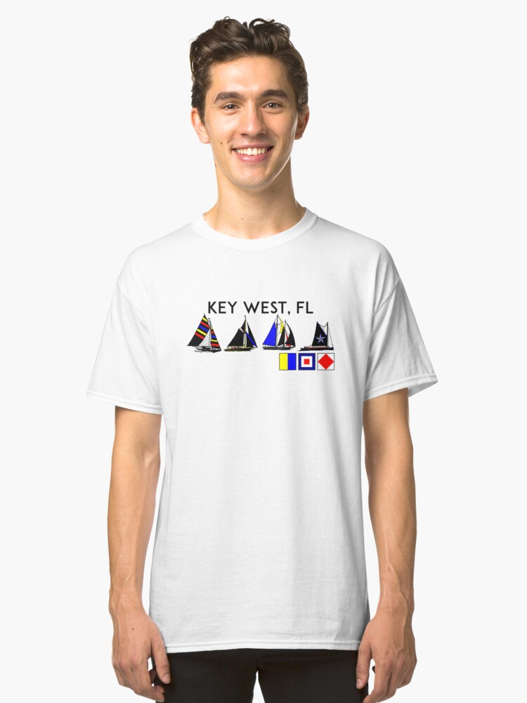 KEY WEST FLORIDA SAILING YACHTING YACHT SAIL BOAT  Classic T-Shirt Front