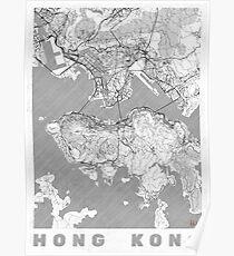 Hong Kong Map Line Poster