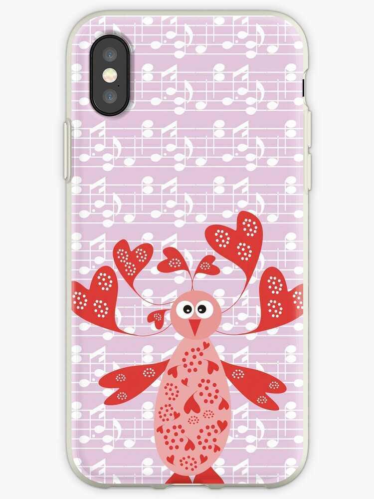 CVAn0064 Cute Whimsical Bird with hearts by CircusValley