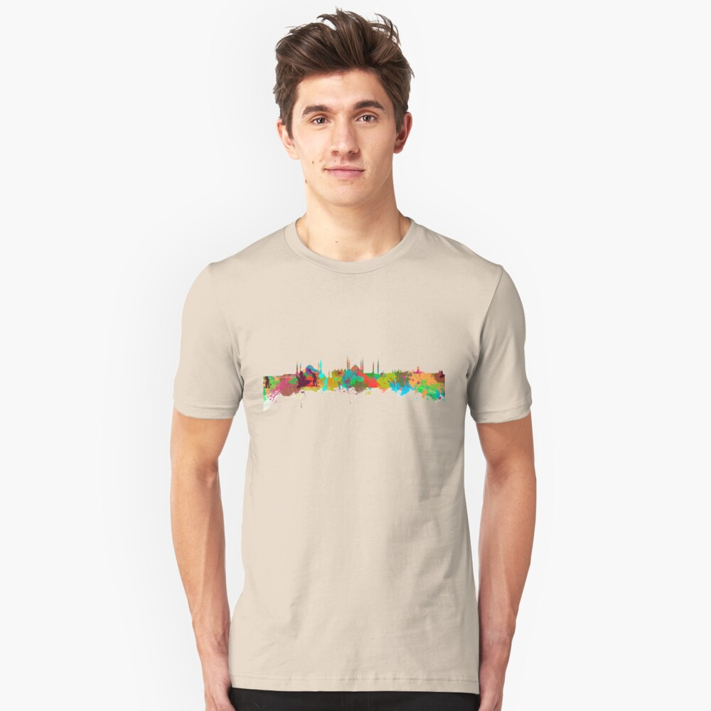 Istanbul Watercolor Skyline  Unisex T-Shirt Front