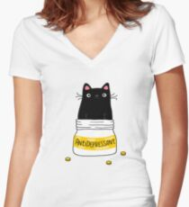 FUR ANTIDEPRESSANT Women's Fitted V-Neck T-Shirt