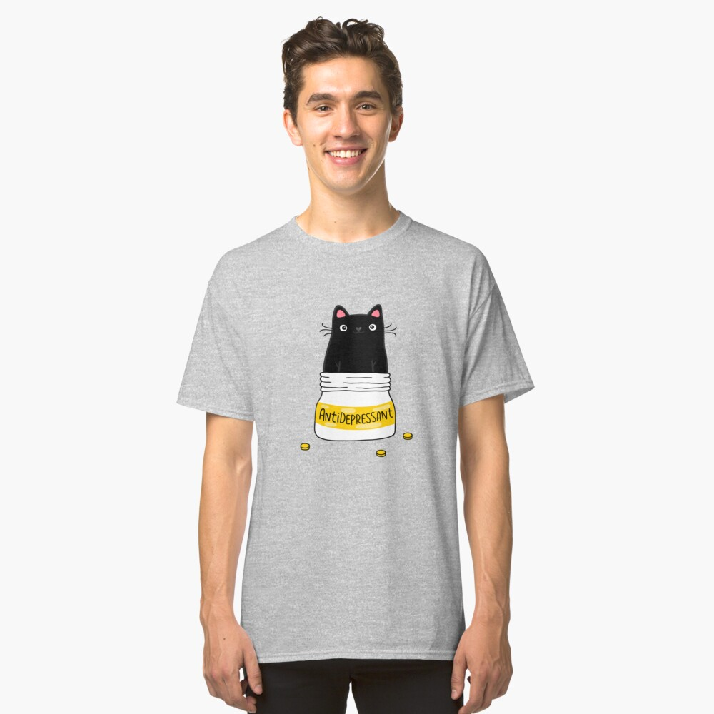 FUR ANTIDEPRESSANT . Cute black cat illustration. A gift for a pet lover. Classic T-Shirt