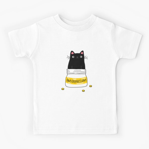 FUR ANTIDEPRESSANT . Cute black cat illustration. A gift for a pet lover. Kids T-Shirt