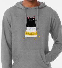 FUR ANTIDEPRESSANT . Cute black cat illustration. A gift for a pet lover. Lightweight Hoodie