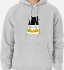 FUR ANTIDEPRESSANT . Cute black cat illustration. A gift for a pet lover. Pullover Hoodie
