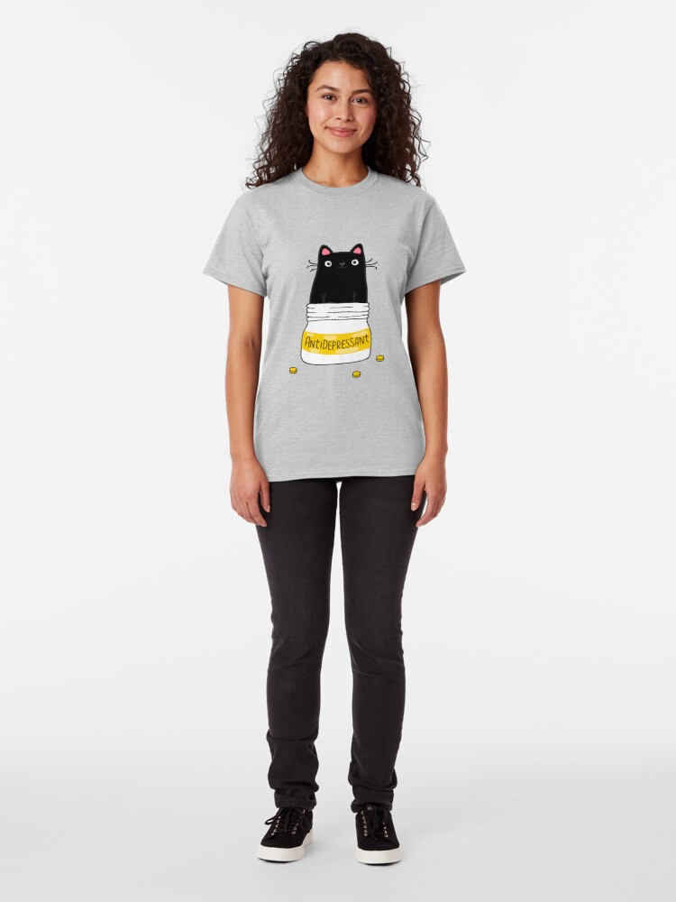 Alternate view of FUR ANTIDEPRESSANT . Cute black cat illustration. A gift for a pet lover. Classic T-Shirt