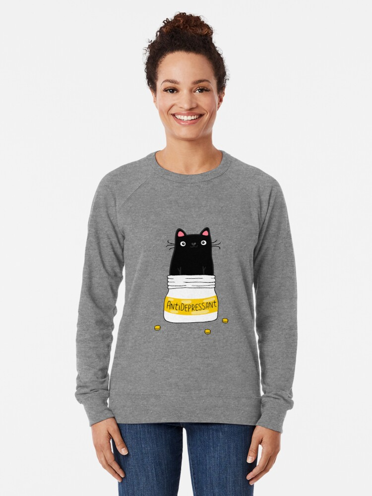 Alternate view of FUR ANTIDEPRESSANT . Cute black cat illustration. A gift for a pet lover. Lightweight Sweatshirt