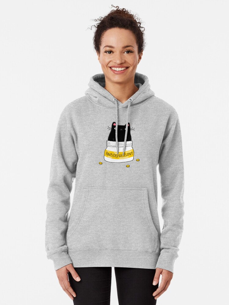 Alternate view of FUR ANTIDEPRESSANT . Cute black cat illustration. A gift for a pet lover. Pullover Hoodie