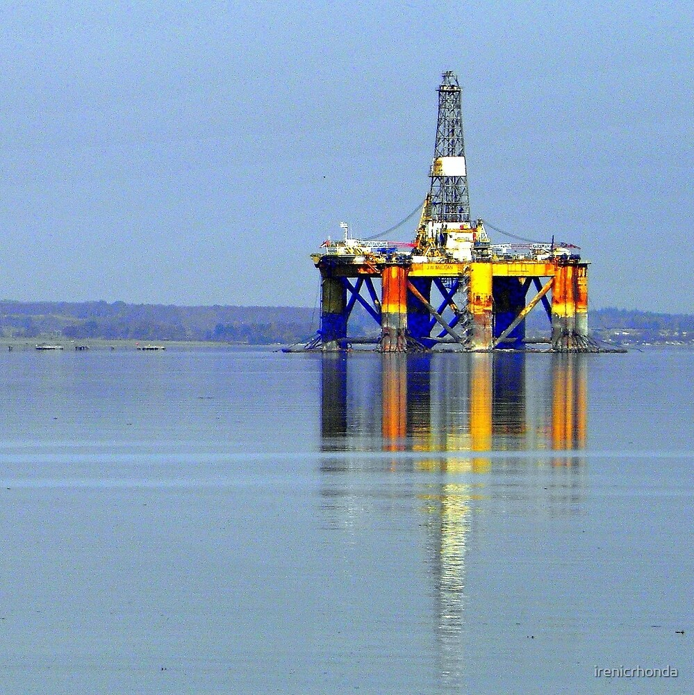 Oil Rig from Udale Bay by irenicrhonda