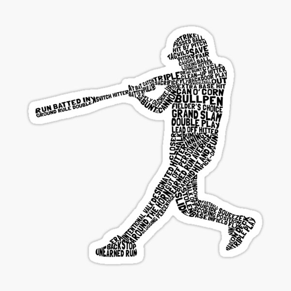 Softball Baseball Player Calligram Sticker