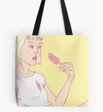 Girl eating an icecream on a hot summer day Tote Bag