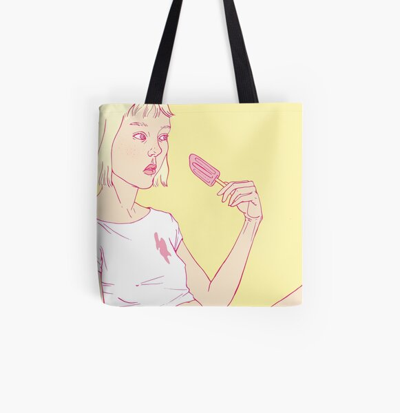 Girl eating an icecream on a hot summer day All Over Print Tote Bag