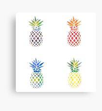 Colorful Pineapple Set Canvas Print