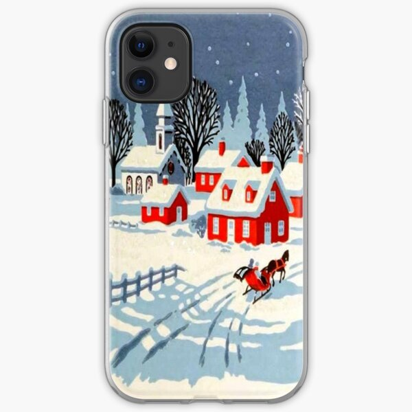 Vintage, Winter, Christmas, Holiday iPhone Soft Case