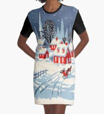 Vintage, Winter, Christmas, Holiday Graphic T-Shirt Dress