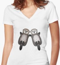 Otters Holding Hands - Sea Otter Couple Women's Fitted V-Neck T-Shirt