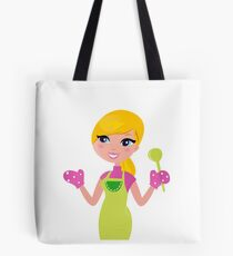 Cute blond woman cooking healthy food Tote Bag