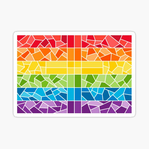 Rainbow Stained Glass Cross - Alternate Sticker