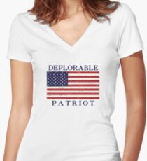 Deplorable Patriot (Blue Letters) Women's Fitted V-Neck T-Shirt