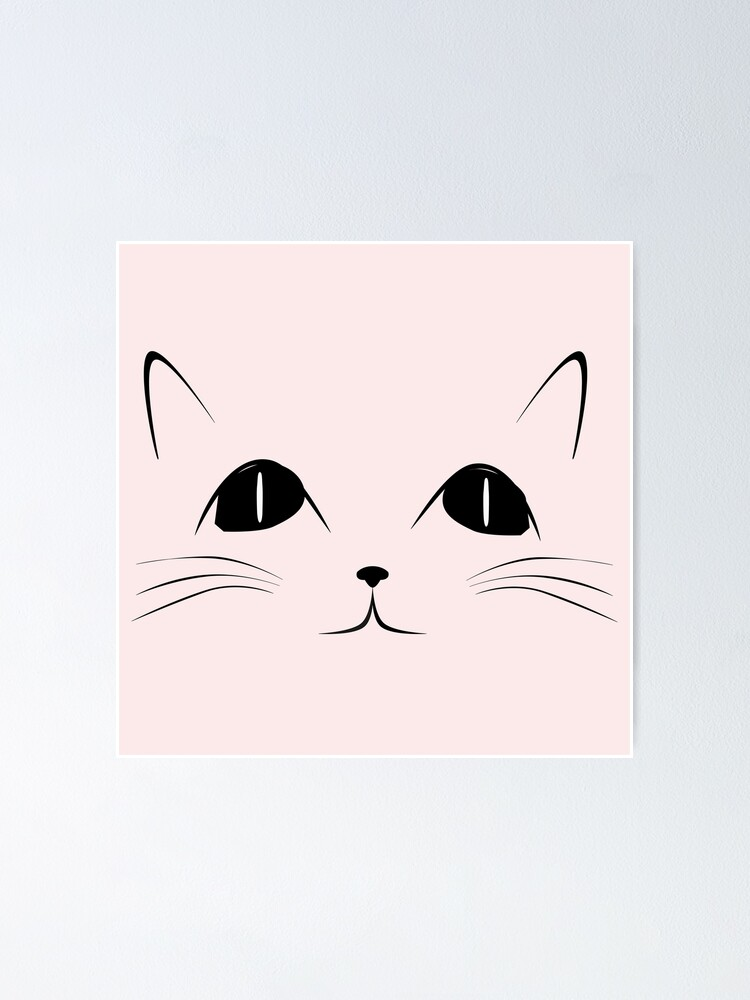 Black Cat Face Cute Animal Cartoon Poster By Sago Design Redbubble