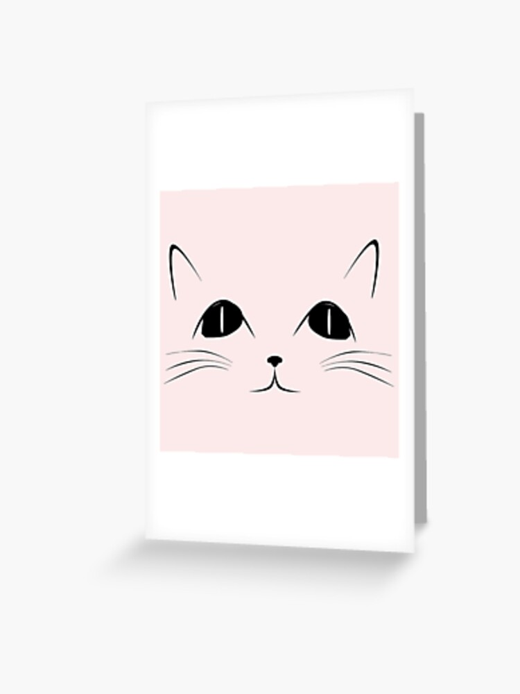Black Cat Face Cute Animal Cartoon Greeting Card By Sago Design
