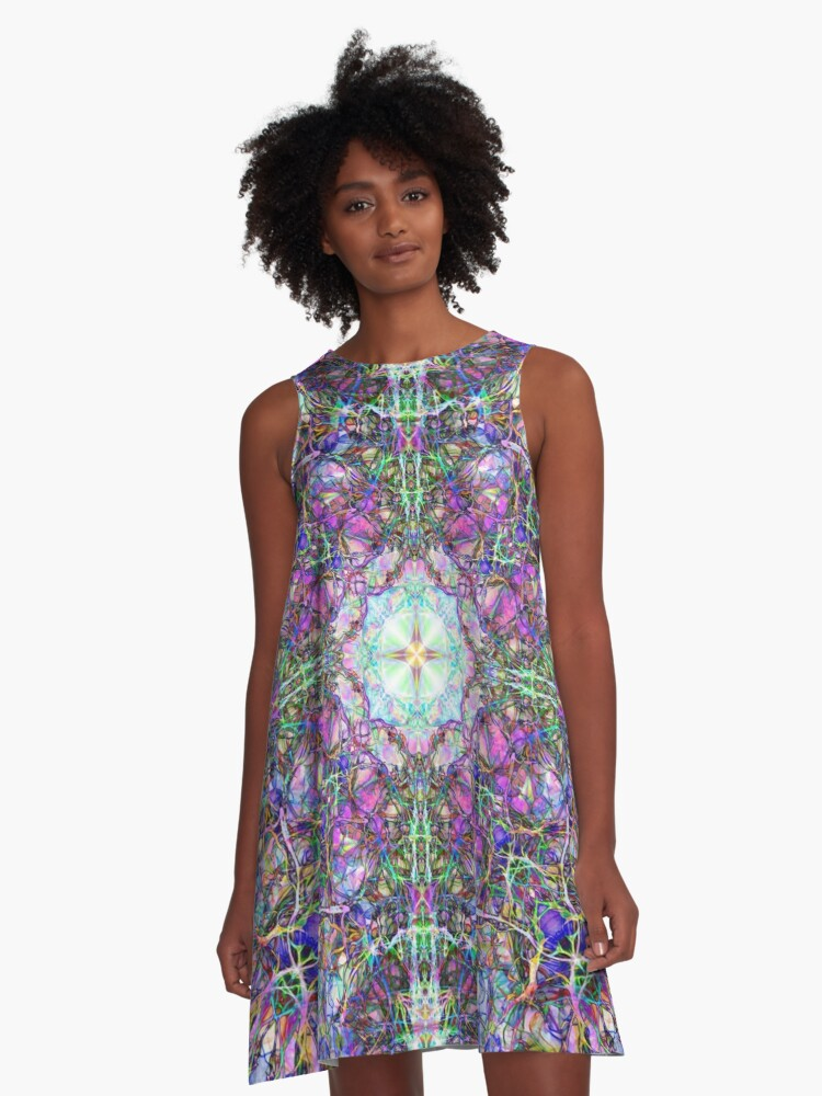 Abstract Colorful Mandala Weave A-Line Dress Front