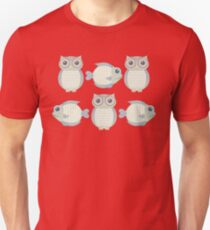 Three Cool Fish and Three Cool Owls T-Shirt
