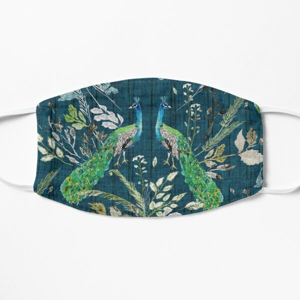 Peacock Chinoiserie (teal)  Flat Mask