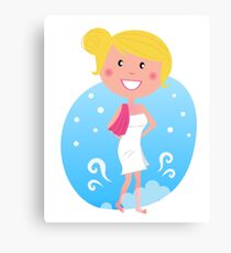 Cute blond woman in winter Canvas Print
