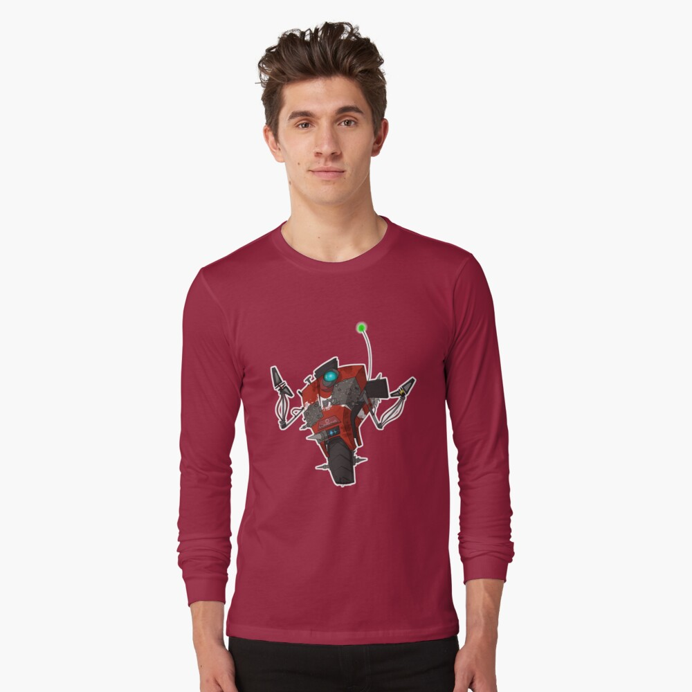 Badass Claptrap Sticker Long Sleeve T-Shirt Front