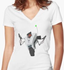 Portal Claptrap Sticker Women's Fitted V-Neck T-Shirt