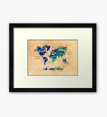 world map oceans and continents 2 Framed Print