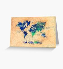 world map oceans and continents 2 Greeting Card