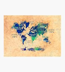 world map oceans and continents 2 Photographic Print