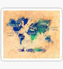 world map oceans and continents 2 Sticker