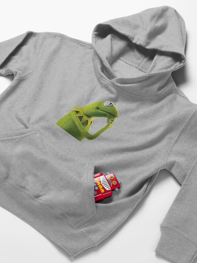 Alternate view of Kermit Contemplating, an aesthetic Kids Pullover Hoodie