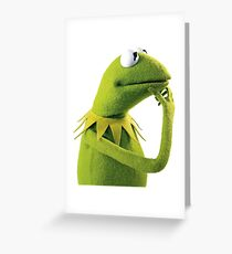 Kermit the frog greeting cards redbubble kermit contemplating an aesthetic greeting card m4hsunfo