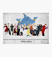 Minimalist Inspired Robin Williams Character Tribute Photographic Print