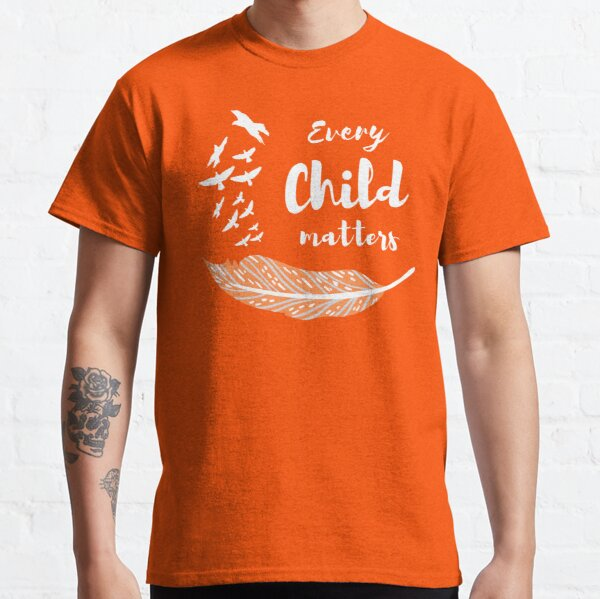 Every Child Matters Design With Birds Feather Truth and Reconciliation White Text Classic T-Shirt